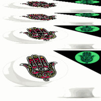 Ear Piercing Gauges Hamsa Glow in the Dark Double Flared Acrylic Saddle Plugs