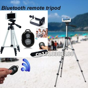 Flexible 4 Sections 105cm Camera Bluetooth Remote tripod Monopod + Mobile Phone Holder with Bag for Camera DV Video Recorders
