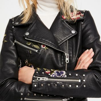 Free People Faux Leather Embroidered Moto Jacket