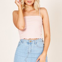 Live Life crop top in blush stripe Produced By SHOWPO