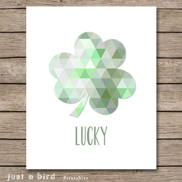 Lucky wall art, modern nursery decor, green nursery wall art, shamrock art, St Patricks day decor, irish nursery - INSTANT DOWNLOAD
