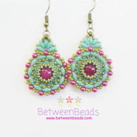Turquoise Round Earrings, Turquoise and Hot Pink, Dangle Earrings, Beaded Earrings, Green Turquoise Jewelry, Everyday, Drop Earring Gifts