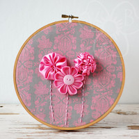 Pink Bouquet handmade flower hoop art from VioletsBuds