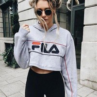 VONE7Y2 FILA Casual Long Sleeve Hooded Crop Top Sweater Pullover Hoodie