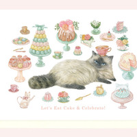 High Tea Kitty Birthday Card (Siamese Cat)