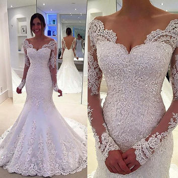 Elegant Satin Lace Mermaid Wedding Dress High Quality Custom Made V Neck Long Sleeves Bridal Dresses New Arrival 2017