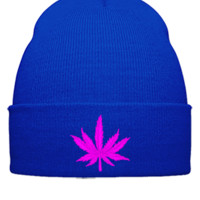 MARIJUANA LEAF Bucket Hat, - Beanie Cuffed Knit Cap