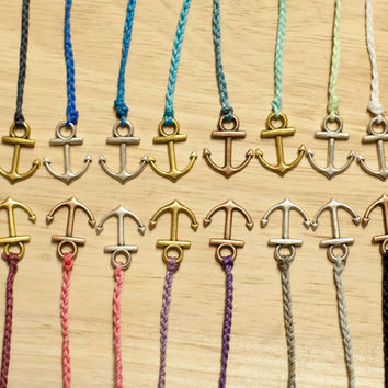 Mini Anchor Bracelet - Waxed polyester - Customize your own