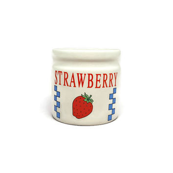 Vintage Strawberry Jar- Strawberry Canister- Jar- Vintage Kitchen Decor- Candy Jar- Small Jar- Honey Jar- Utensil Jar- Toothbrush Holder