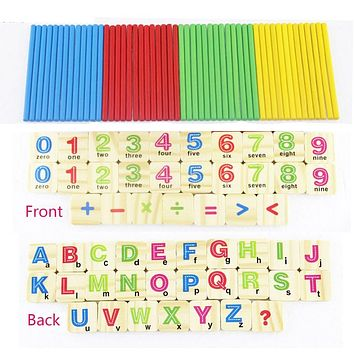 Baby Math Toys Counting Sticks Letter Education Wooden Toys Building Intelligence Blocks Montessori Mathematical Gift