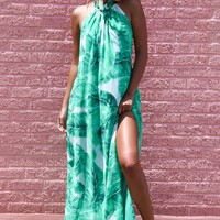 La Playa Palm Halter Maxi Dress