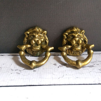 Antique Brass Lion Pulls/ Brass Lion Knockers/ Vintage Brass Lion Knobs/ Vintage Brass Drawer Pulls/ Lion Cabinet Pulls/ Lion Knobs