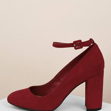 Oval Toe Buckled Ankle Block Heel Pumps