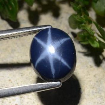 2.95 ct  Oval Cabochon Blue Star Sapphire 9.5 x 7.3 mm