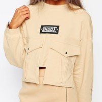 Shade London Cropped Sweatshirt With Pocket Detail