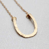 Gold Horseshoe Necklace - Hammered Wire Hand Formed Horse Shoe Necklace
