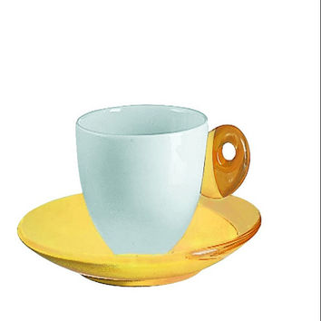 Guzzini Feeling 6 Espresso cup & Saucer set in Yellow