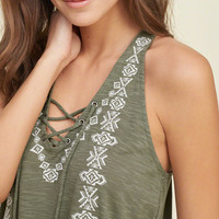Embroidered Lace Up Tank