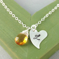 November Birthstone Jewelry, Citrine Necklace, Birthday Gift, Monogram Necklace, Initial Birthstone Jewelry, Christmas Gift, Heart, Unique