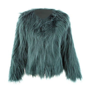 Floating Hair Jacket Coat Women Lady Fur Overcoat Imitation Fur Faux Fox Jackets Hairy Party Fur Warm Coat Plus Size XXXL
