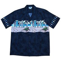 turtle surf black hawaiian border shirt