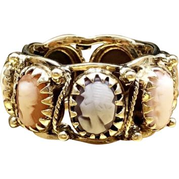 Unique Antique Mid 1800s 14 Karat Gold Carved Shell, Sardonyx, Coral, and Mother of Pearl Mid Victorian Portrait Cameo Eternity Ring in Size 6.75