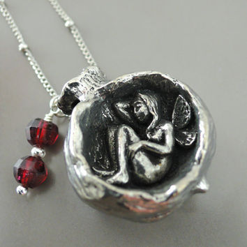 Silver Necklace - Pomegranate jewelry - Pomegranate Necklace -  Fairy Necklace - Fairy jewelry - Garnet Necklace - handmade jewelry