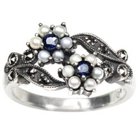 Gemini Cultured Seed Pearl Sterling Silver Ring, Sapphire (size 7) - Dahlia Vintage Collection