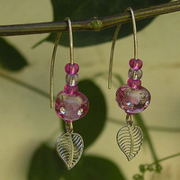 Magenta Dangling Earrings, Handmade Lampwork Glass Beads Earrings, Goldfilled Hook, Long Earrings
