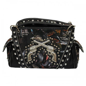 Western Natural Camo Double Pistol Handbag In Black