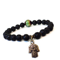 Mood Bead Mala Bracelet Hamsa Jewelry Color Changing Spiritual Black Protection Evil Eye Stocking Stuffer Christmas Gifts For Her or Him