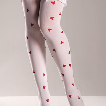 Heart Print Thigh Highs