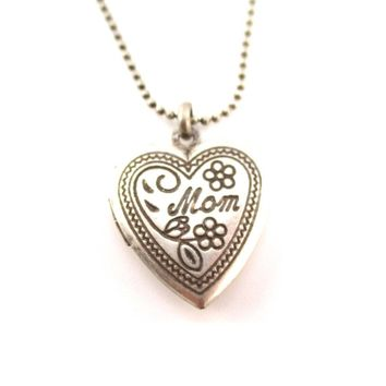 Heart Shaped Engraved Mom Floral Mothers Day Locket Necklace in Silver | DOTOLY