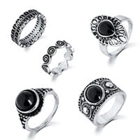 Turkish Ring Vintage Ring Sets 5 PCS Antique Alloy Nature Blue Stone Midi finger Rings for Women Steampunk Anillos Dropship