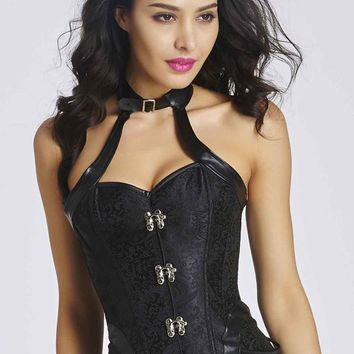 Sexy Ladies Halter Style Corset Overbust Bustier Top Size S-2XL