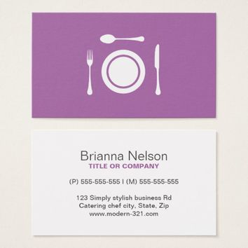 Minimalist restaurant chef catering professional business card
