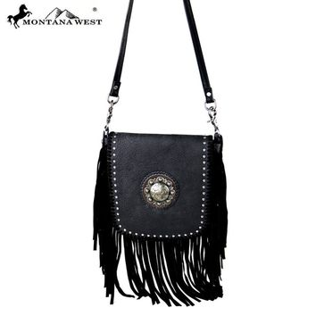 Black Leather Cross Body Montana West Bag RLC-L080