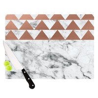 "KESS Original ""Marble & Metal"" White Copper Cutting Board"