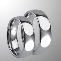 Couple's comfort fit domed tungsten carbide wedding band set