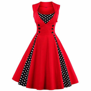 S-4XL Women Robe Pin Up Dress Retro Vintage 50s 60s Rockabilly Dot  Summer