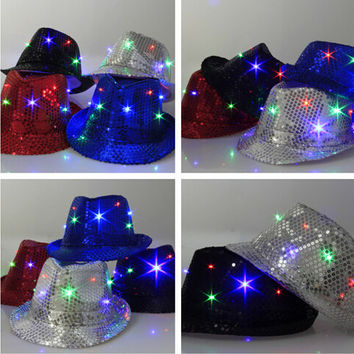 Fashion led jazz hat led party hats with star light colorful hip hop hats for party