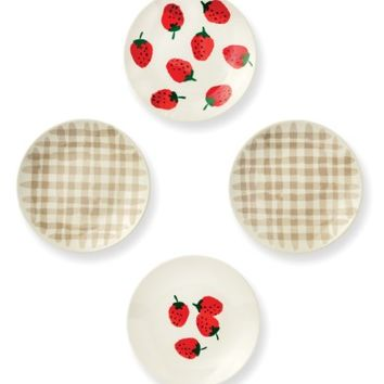 kate spade new york strawberries set of 4 melamine tidbit plates | Nordstrom