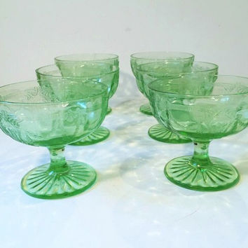 Set of 6 Green Depression Glass Cameo Glass Sherbet Cups, Anchor Hocking Cameo Dancing Girl or Ballerina Footed Sherbet or Dessert Cup