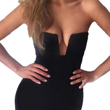Womens Strapless Halter Deep V Bodycon Dresses