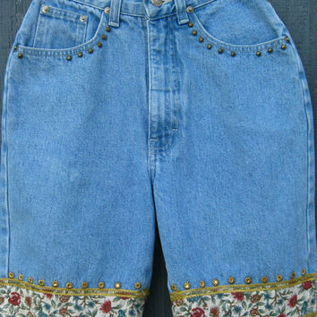 Bonjour Vintage  80s High Waist Jean Shorts Studded Embellished Denim shorts Long jean shorts reconstructed jeans size 5 22 in waist XS XXS