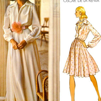 70s Vogue Pattern 2880 Evening Day Dress Oscar De La Renta V Neckline Flared Skirt Shirtdress Vintage Sewing Patterns Uncut Size 12 Bust 34
