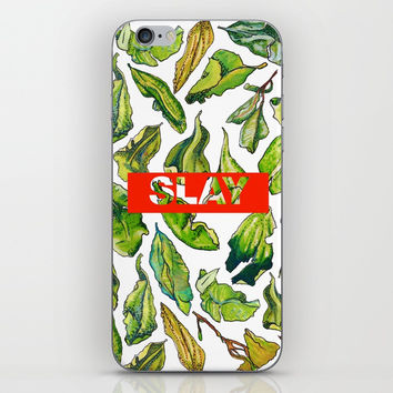 slay tea slay! // watercolor tea leaf pattern with millennial slang iPhone Skin by Camila Quintana S