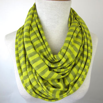 Yellow Infinity Scarf - Mustard Striped Scarf - Striped Jersey Scarf