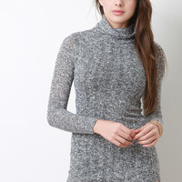 Marled Knit Turtle Neck Dress