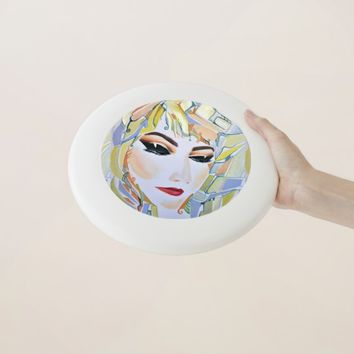 Surreal girl watercolor painting Wham-O frisbee